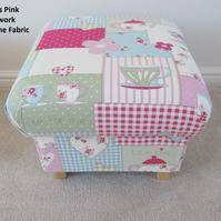 Fryetts Teatime Patchwork Pink Fabric Footstool Footstall Pouffe Shabby Chic New