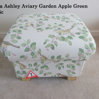 Laura Ashley Aviary Garden Fabric Footstool Footstall Bespoke Pouffe Birds New