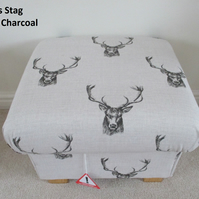 Fryetts Stag Head Fabric Footstool Grey Footstall Pouffe Animals Deer Designer