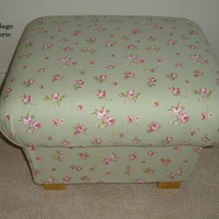 Clarke & Clarke Rosebud Sage Green Fabric Footstool Shabby Chic Roses Pink