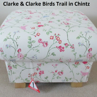 Clarke Birds Trail Chintz Fabric Footstool Pouffe Footstall Shabby Chic Floral