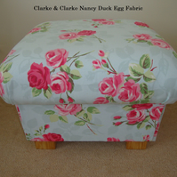 Clarke & Clarke Nancy Duck Egg Fabric Footstool Footstall Pouffe Pink Floral