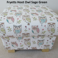 Fryetts Hoot Owl Fabric Footstool Footstall Pouffe Animals Shabby Chic Patchwork