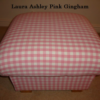 Laura Ashley Pink Gingham Fabric Footstool Check Shabby Chic Footstall Pouffe