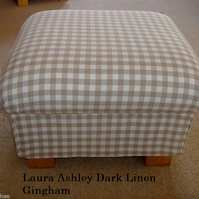 Laura Ashley Dark Linen Gingham Fabric Footstool Footstall Pouffe Check Taupe