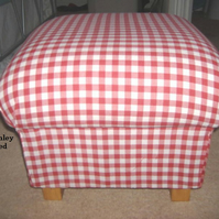 Laura Ashley Scarlet Red Gingham Fabric Footstool Footstall Pouffe Shabby Chic