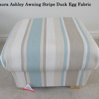 Laura Ashley Awning Stripe Fabric Footstool Duck Egg Footstall Pouffe Stool