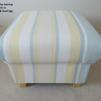 Laura Ashley Awning Stripe Fabric Footstool Duck Egg Primrose Lemon Footstall