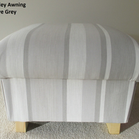 Laura Ashley Awning Stripe Fabric Footstool Footstall Dove Grey Pouffe Bespoke