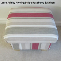 Laura Ashley Awning Stripe Fabric Footstool Raspberry & Lichen Footstall Pouffe