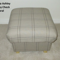 Laura Ashley Corby Check Natural Fabric Footstool Footstall Pouffe Living Room