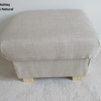 Laura Ashley Dalton Natural Fabric Footstool Footstall Pouffe Bespoke New