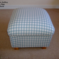 Laura Ashley Duck Egg Gingham Fabric Footstool Footstall Pouffe Shabby Chic New