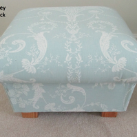 Laura Ashley Josette Duck Egg Fabric Footstool Footstall Pouffe French Toile