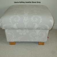 Laura Ashley Josette Dove Grey Fabric Footstool Footstall Pouffe Living Room New