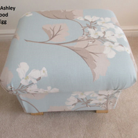 Laura Ashley Millwood Fabric Footstool Duck Egg Floral Footstall Pouffe Bespoke
