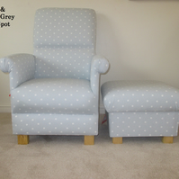 Clarke Dotty Grey Fabric Armchair & Footstool Polka Dots Chair Accent New
