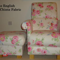 Clarke English Rose Chintz Fabric Chair & Footstool Floral Roses Pink Bedroom