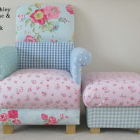 Laura Ashley Patchwork Fabrics Chair & Footstool Shabby Chic Roses Gingham New