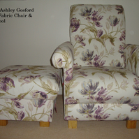 Laura Ashley Gosford Plum Fabric Armchair & Footstool Lilac Floral Shabby Chic