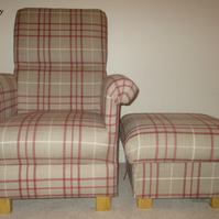 Laura Ashley Keynes Natural Fabric Chair & Footstool Check Footstall Red Check