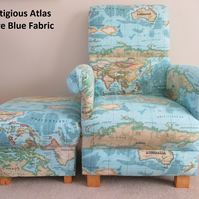 Prestigious Atlas Fabric Chair & Footstool World Map Azure Blue Britain Library