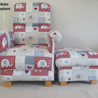 Fryetts Bobo Blue Fabric Chair & Footstool Patchwork Elephants Animals Hearts