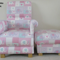 Fryetts Bobo Pink Fabric Chair & Footstool Footstall Elephants Patchwork Gingham