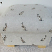 Fryetts Hartley Hare Fabric Footstool Footstall Pouffe Animals Rabbits