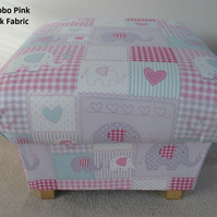 Fryetts Bobo Patchwork Fabric Footstool Footstall Pink Blue Shabby Chic Nursery