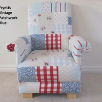 Fryetts Vintage Patchwork Blue Fabric Child's Chair Gingham Red Shabby Chic Kids