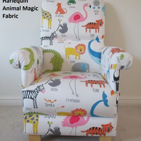 Harlequin Scion Animal Magic Fabric Adult Chair Armchair Nursery Elephants New