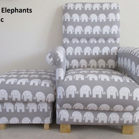 Elephants Grey Fabric Adult Chair & Footstool Nursery Bedroom Animals Playroom
