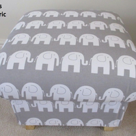 Grey Elephants Footstool Stool Bespoke Animals Nursery Bedroom Pouffe