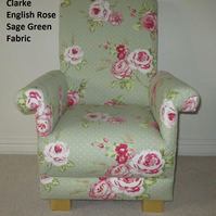 Clarke English Rose Sage Green Fabric Child's Chair Floral Nursery Pink Kid's