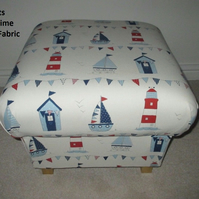 Fryetts Maritime Boats Fabric Footstool Ships Nautical Red White Blue Lighthouse
