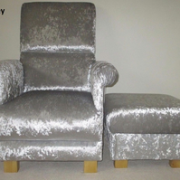 Silver Grey Crushed Velvet Fabric Adult Chair & Footstool Armchair Nursery