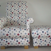 John Lewis Funky Stars Fabric Adult Chair & Footstool Blue Red Nursery Armchair
