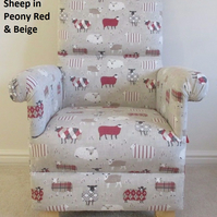 Baa Baa Sheep Fabric Adult Chair Peony Red Beige Patchwork Animals Armchair