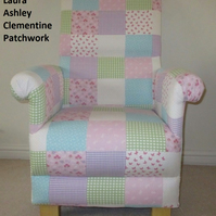 Laura Ashley Clementine Patchwork Fabric Adult Chair Pink Blue Shabby Chic