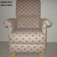Clarke Pink Stars Fabric Adult Chair Nursery Armchair Beige Shabby Chic New