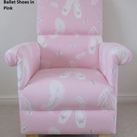 Sanderson Ballet Shoes Pink Fabric Adult Chair Ballerina Dancing Armchair Girls