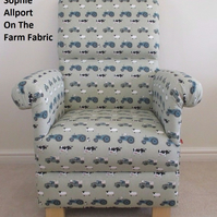 Sophie Allport On The Farm Fabric Adult Chair Animals Armchair Green Pigs Sheep