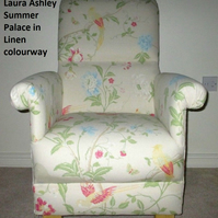 Laura Ashley Summer Palace Linen Fabric Adult Chair Armchair Floral Cream Pink