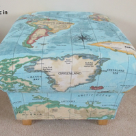 Prestigious Atlas Azure Blue Fabric Footstool Pouffe World Map Footstall