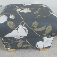 Prestigious Sayuri Fabric Footstool Pewter Grey Floral Cream Flowers Pouffe