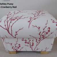 Laura Ashley Pussy Willow Fabric Footstool Cranberry Natural Grey Seaspray