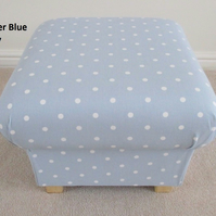 Clarke Powder Blue Dotty Spot Fabric Footstool Spotty Polka Dots Shabby Chic