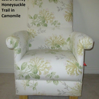 Laura Ashley Honeysuckle Trail Fabric Adult Chair Floral Green Lemon Flowers New