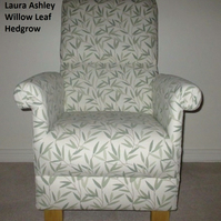 Laura Ashley Willow Leaf Hedgerow Green Fabric Adult Armchair Chair Leaves New